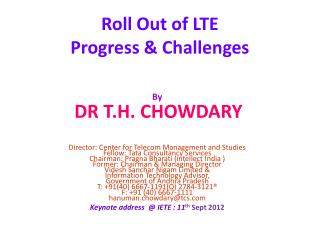 Roll Out of LTE Progress & Challenges