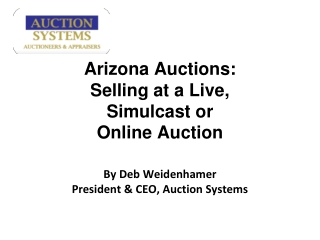 Auction Systems - Arizona Auctions: Selling at a live, simul