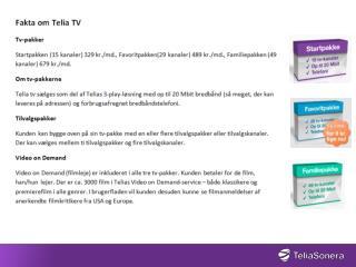 Faktaark Telia TV og HBO