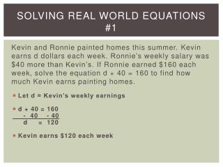 Solving Real World Equations #1