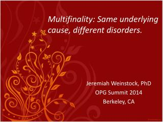 Multifinality: Same underlying cause, different disorders.