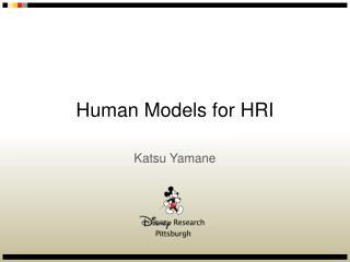 Human Models for HRI