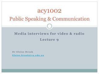 acy1002 Public Speaking & Communication