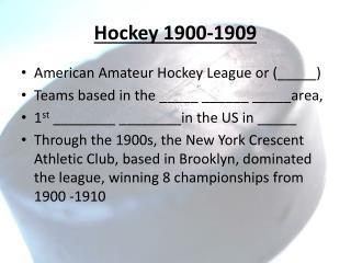 Hockey 1900-1909