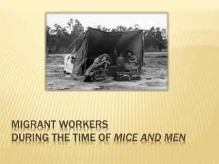 Migrant workers  During the Time of  Mice and Men