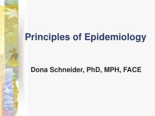 Principles of Epidemiology