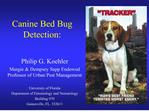 Canine Bed Bug Detection: