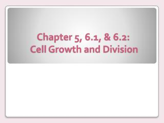 Chapter 5, 6.1, & 6.2:  Cell Growth and Division
