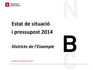 Estat de situació  i pressupost 2014