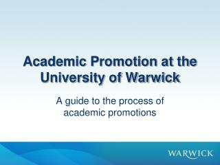Academic Promotion at the University of Warwick