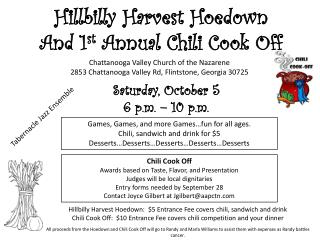 Hillbilly Harvest Hoedown And 1 st  Annual Chili Cook Off