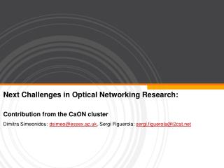 Next Challenges in Optical Networking Research: