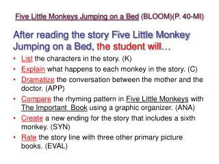 Five Little Monkeys Jumping on a Bed BLOOMP. 40-MI