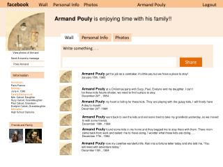 facebook Wall     Personal Info    Photos                       Armand  Pouly Logout