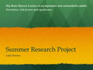 Summer Research Project