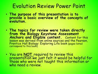 Evolution Review Power Point
