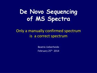 De Novo Sequencing  of MS Spectra