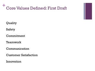 Core Values Defined: First Draft