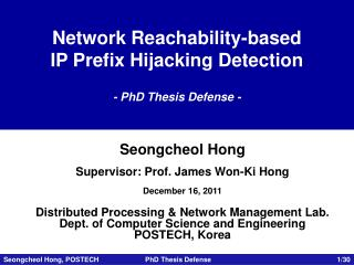 Network Reachability-based IP Prefix Hijacking Detection - PhD Thesis Defense -