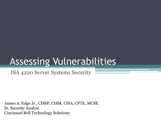 Assessing Vulnerabilities