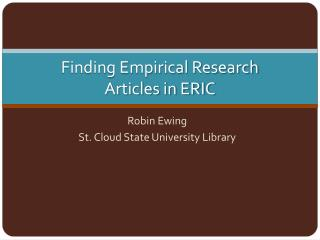 Finding Empirical Research Articles in ERIC