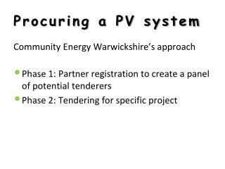 Procuring a PV system
