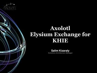 Axolotl  Elysium Exchange for KHIE Salim Kizaraly Solutions Architecture Manager