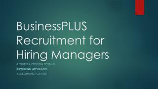 BusinessPLUS Recruitment for Hiring Managers