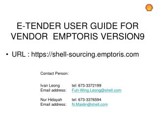 E-TENDER  USER GUIDE FOR  VENDOR   EMPTORIS  VERSION9