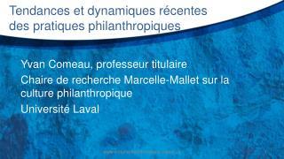 Tendances et dynamiques r�centes des pratiques philanthropiques