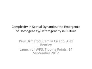 Complexity in Spatial Dynamics: the Emergence of Homogeneity/Heterogeneity in Culture