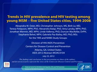 National Center for HIV/AIDS, Viral Hepatitis, STD, and TB Prevention