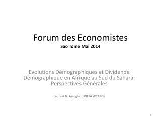 Forum des  Economistes Sao Tome Mai 2014