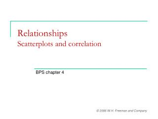 Relationships Scatterplots and correlation