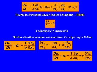 Reynolds-Averaged  Navier -Stokes  Equations --  RANS