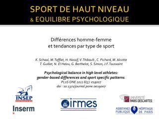 SPORT DE HAUT NIVEAU  &  EQUILIBRE PSYCHOLOGIQUE