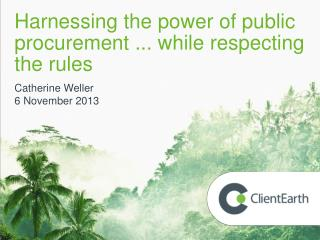 Harnessing the power of public procurement ... while respecting the rules