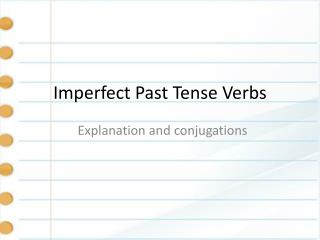 Imperfect Past Tense Verbs