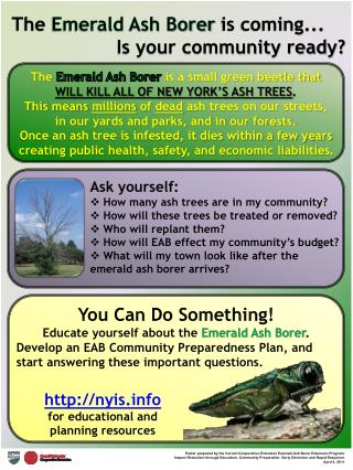 The  Emerald Ash Borer  is coming... Is your community ready?