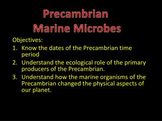 Objectives: Know the dates of the Precambrian time period