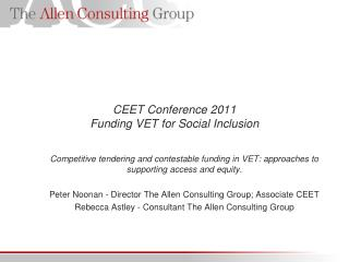 CEET Conference 2011 Funding VET for Social Inclusion
