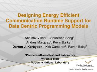 Designing Energy Efficient Communication Runtime Support for Data Centric Programming Models