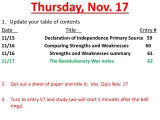 Thursday, Nov. 17