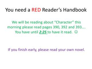 You need a  RED  Reader's Handbook