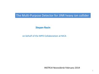 The Multi-Purpose Detector for JINR heavy ion collider