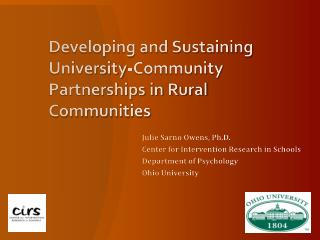 Developing and Sustaining University-Community Partnerships in Rural Communities