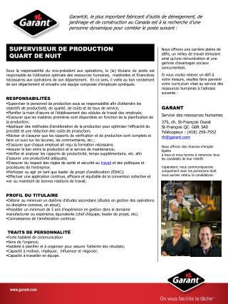 SUPERVISEUR DE PRODUCTION QUART DE NUIT