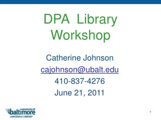 DPA  Library  Workshop