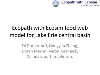 Ecopath with Ecosim food web model for Lake Erie central basin