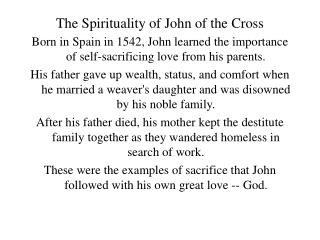 The Spirituality of John of the Cross